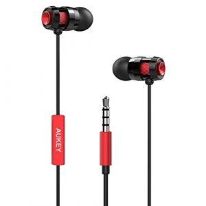 AUKEY-Auricolare-In-Ear-Stereo-Universale-Cuffie-Moving-coil-Headset-con-Microfono-Design-avanzato-per-Enhanced-Bass-Bassi-Rafforzati-in-Riduzione-del-rumore-Rosso-0
